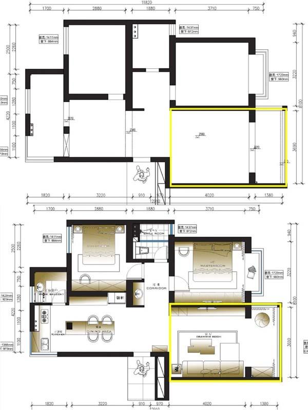 房屋改造之墙体打通平面示意图
